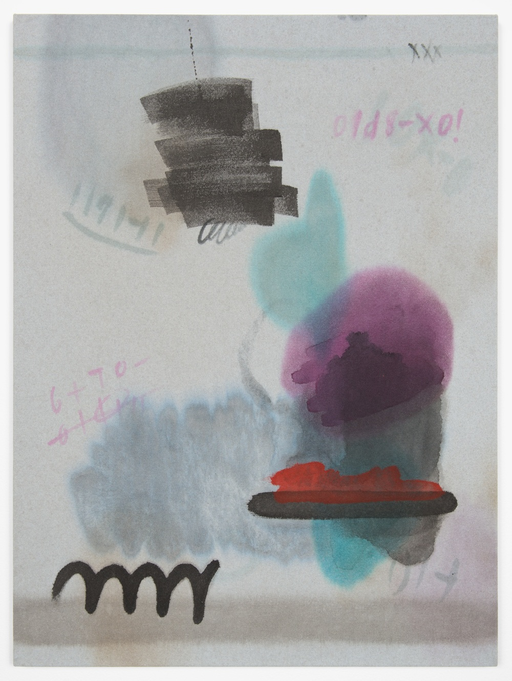 Amanda Ross-Ho  Untitled Painting (SAVE ME!)  2013 Acrylic on dyed canvas 24h x 18w in ARH051