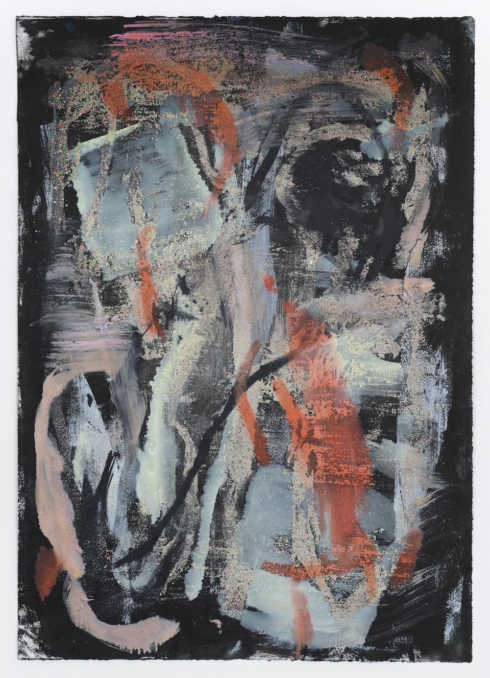 Jon Pestoni  Untitled  2013 Oil and mixed media on paper 40h x 30w in JP151