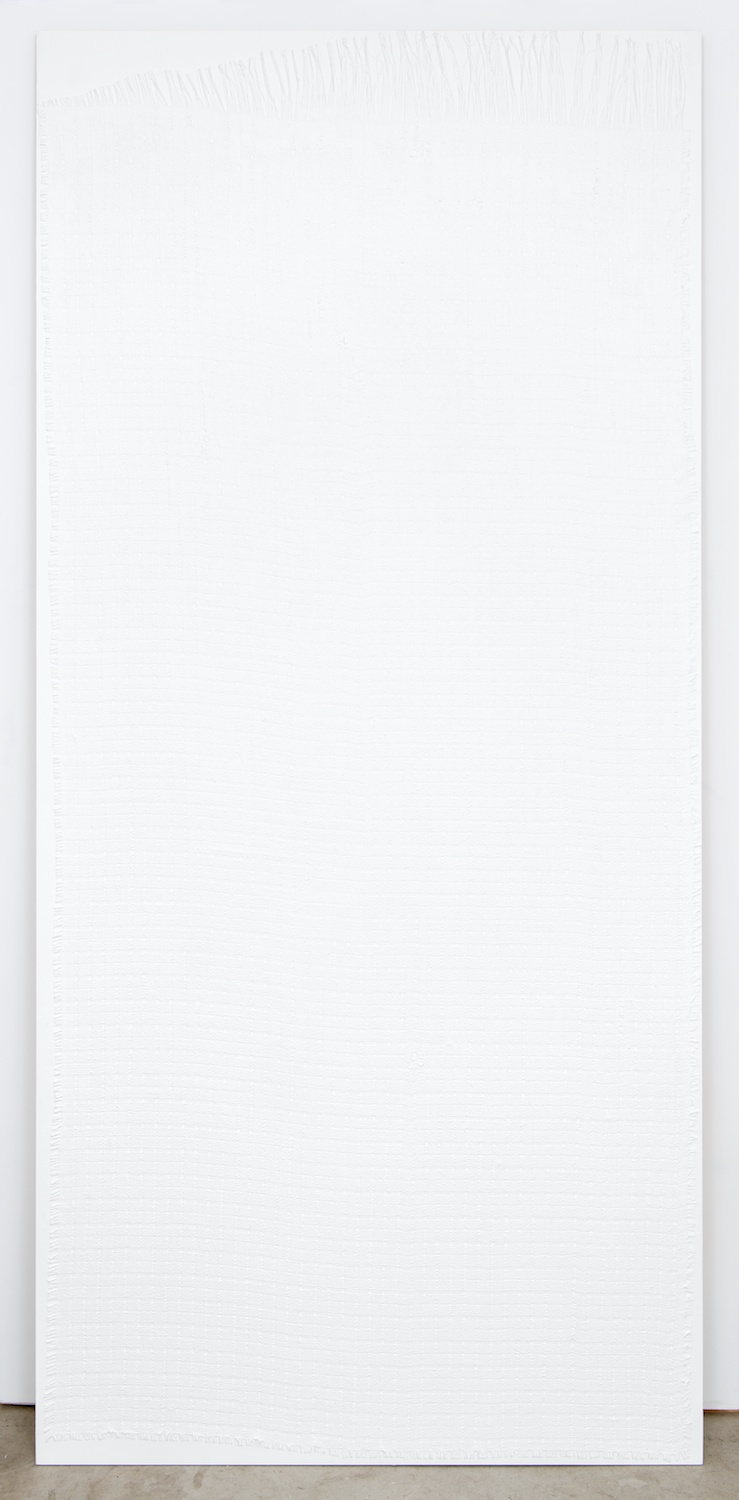 "Michelle Grabner Untitled 2013 Gesso and burlap on panel 90"" x 48"" MGrab382"