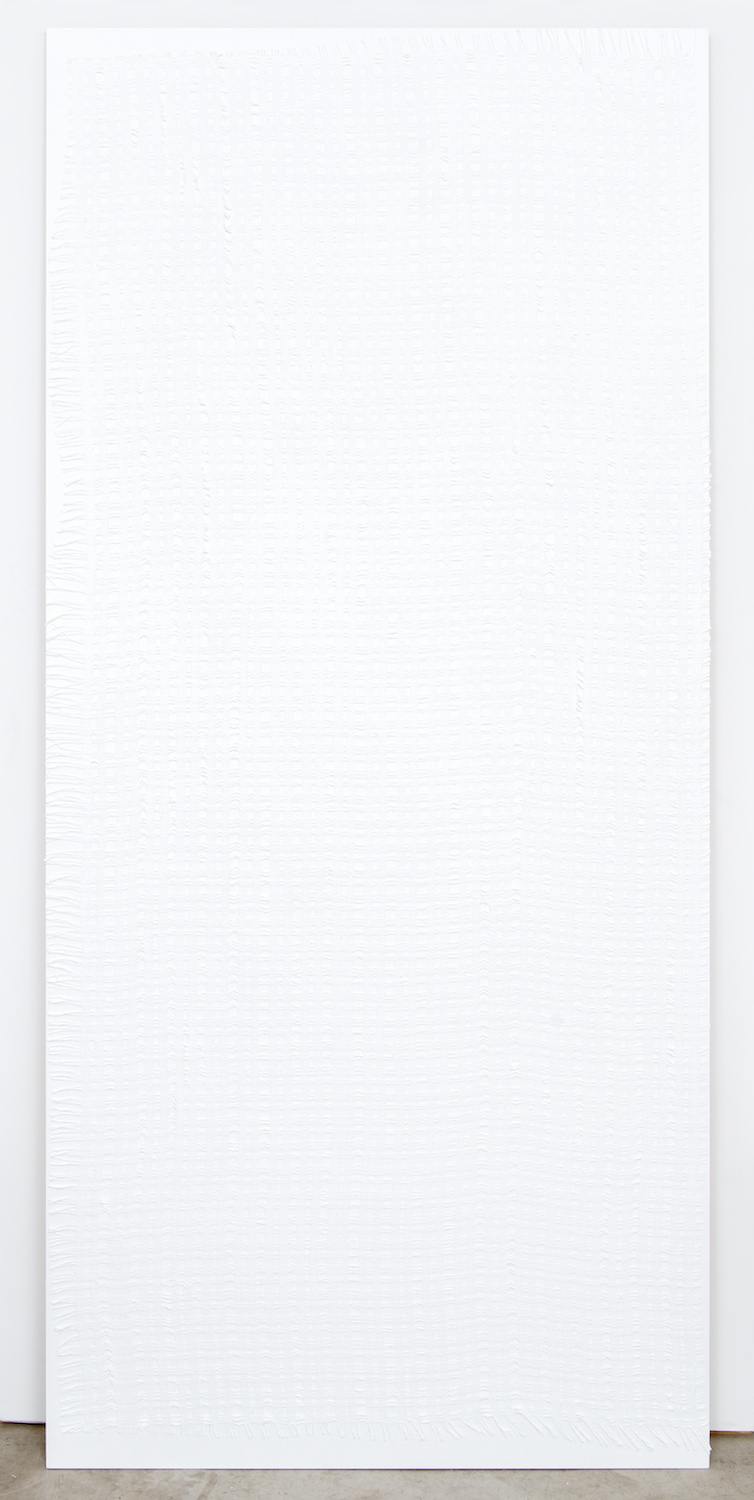 "Michelle Grabner Untitled 2013 Gesso and burlap on panel 90"" x 48"" MGrab384"
