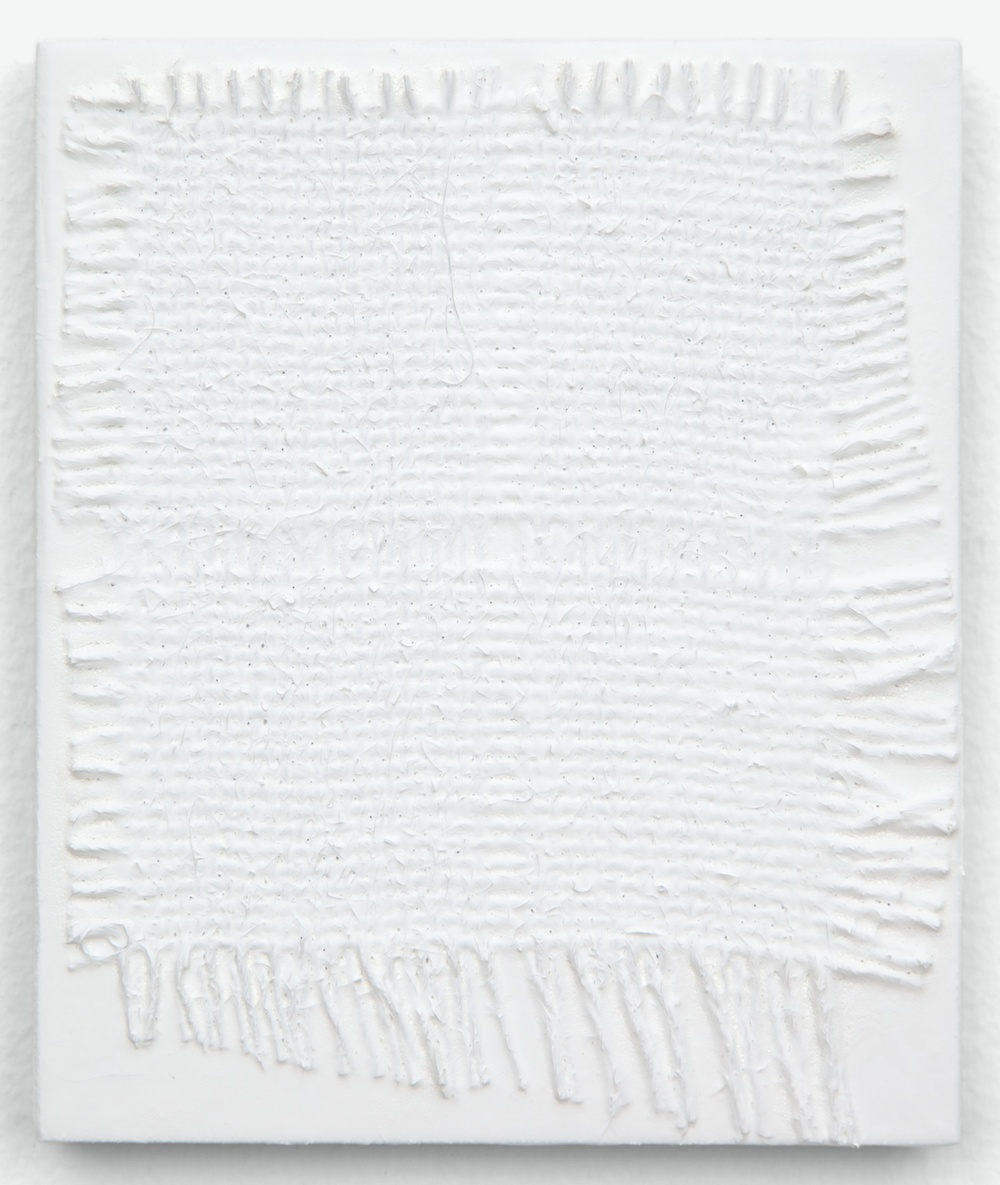 Michelle Grabner  Untitled  2013 Burlap and gesso on panel 6h x 5w in MGrab358