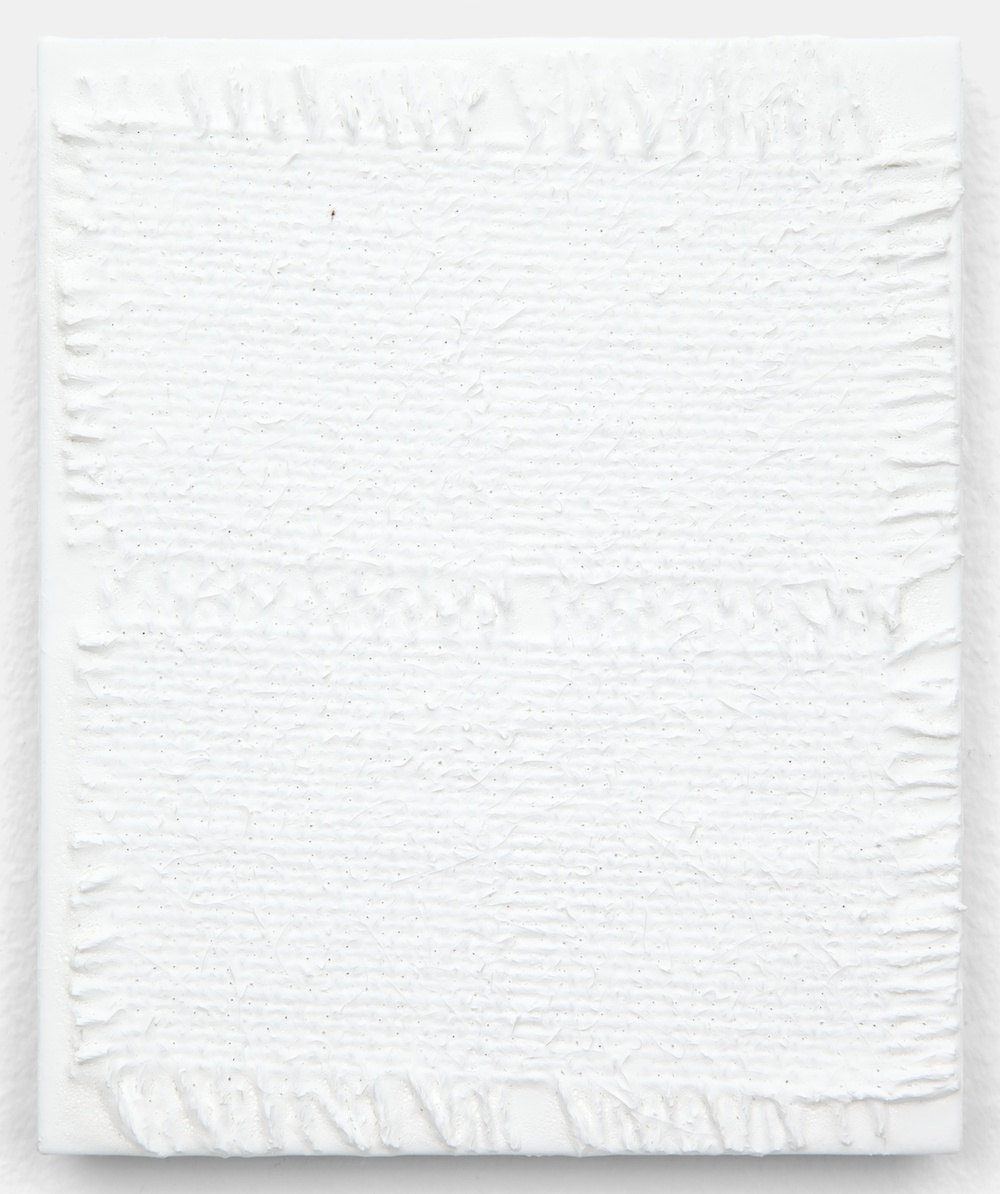 "Michelle Grabner Untitled 2013 Burlap and gesso on panel 6"" x 5"" MGrab359"