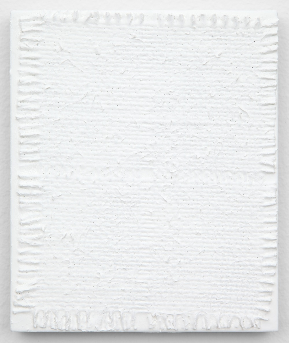 "Michelle Grabner Untitled 2013 Burlap and gesso on panel 6"" x 5"" MGrab360"