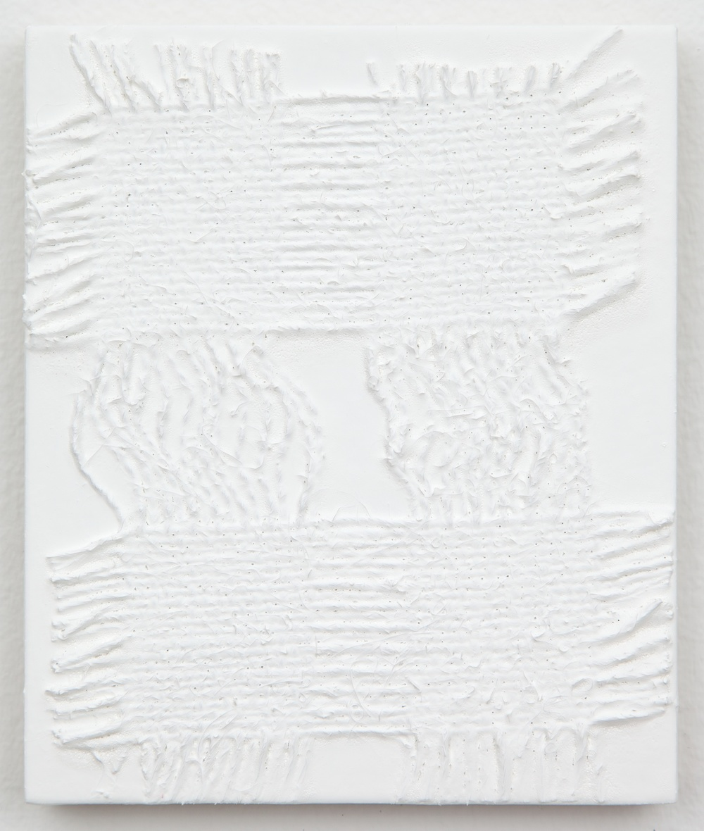 Michelle Grabner  Untitled  2013 Burlap and gesso on panel 6h x 5w in MGrab361
