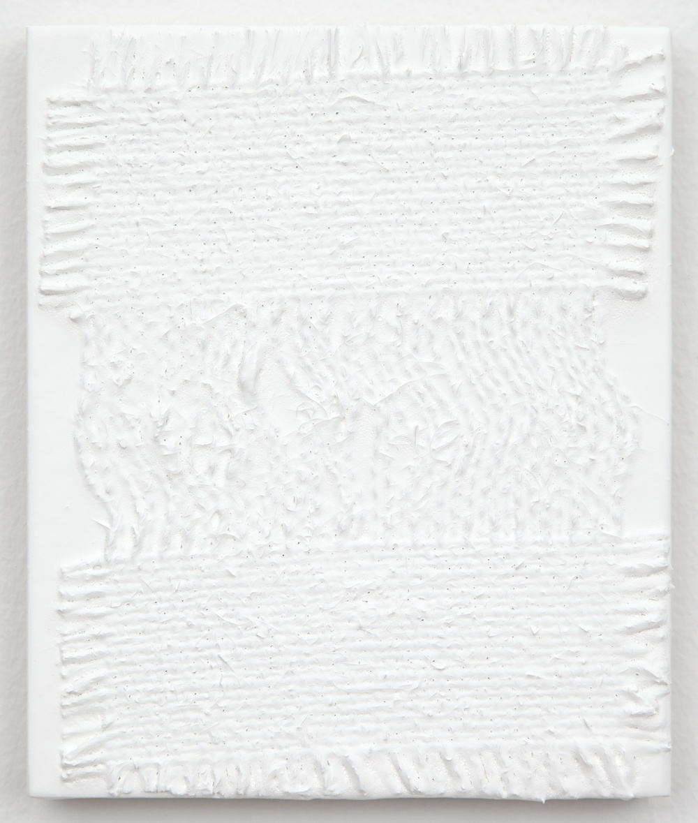 Michelle Grabner  Untitled  2013 Burlap and gesso on panel 6h x 5w in MGrab362