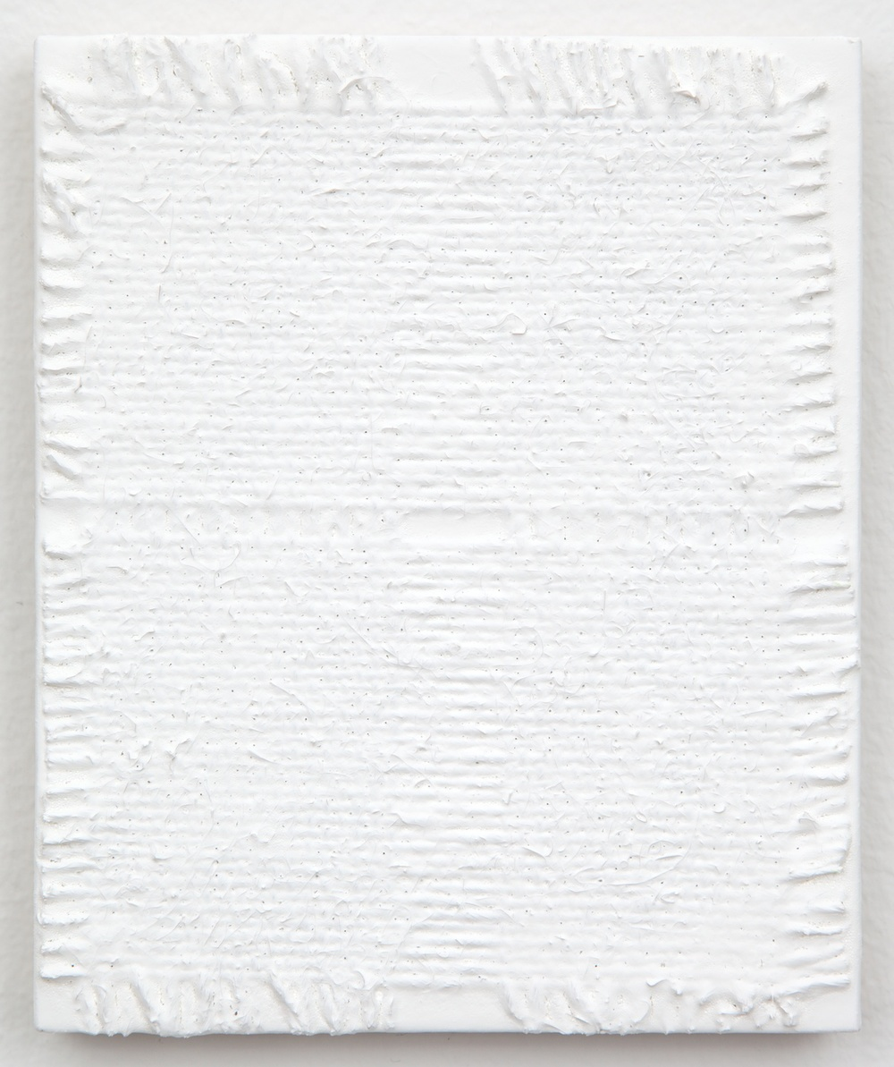 Michelle Grabner  Untitled  2013 Burlap and gesso on panel 6h x 5w in MGrab363