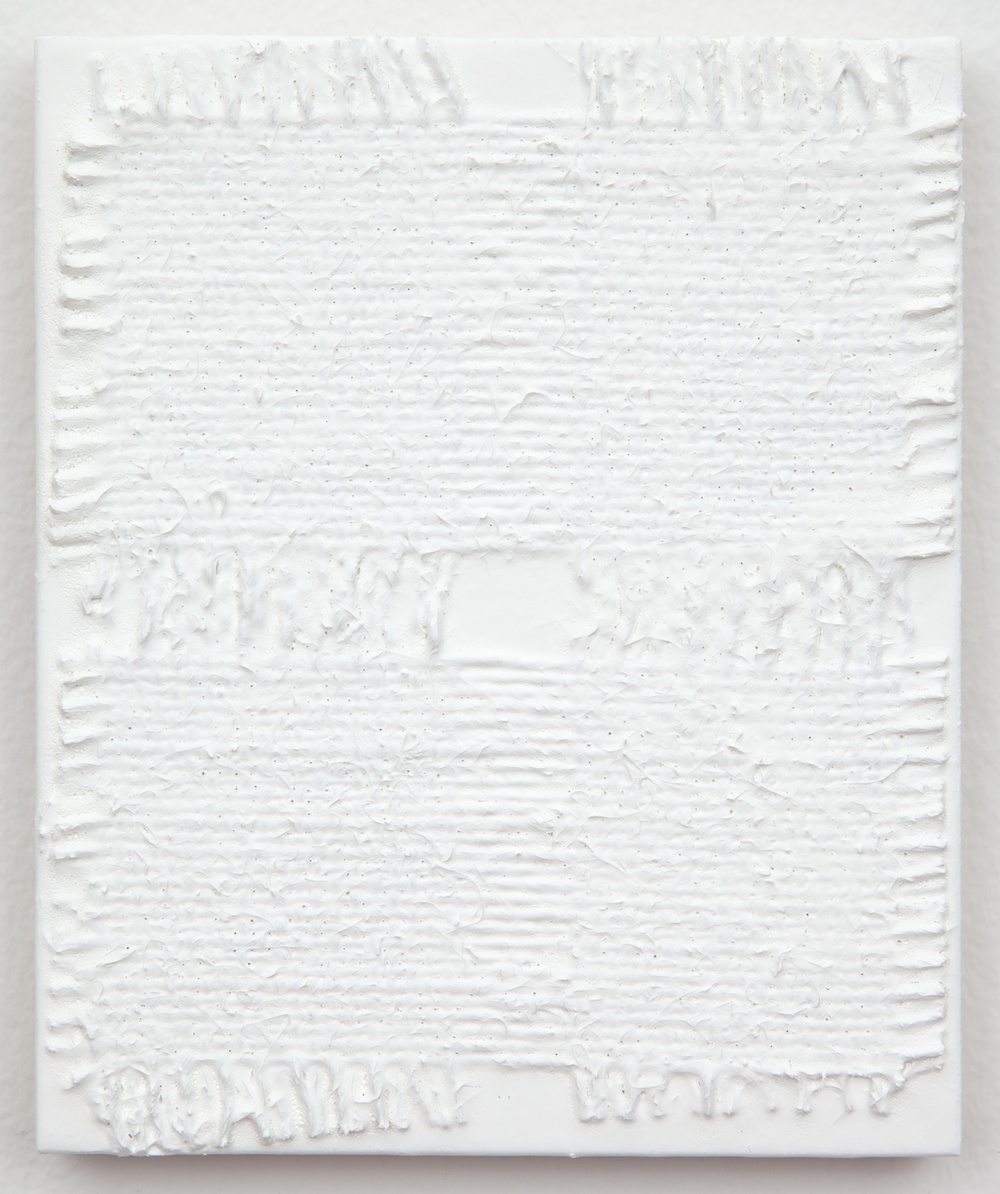 "Michelle Grabner Untitled 2013 Burlap and gesso on panel 6"" x 5"" MGrab364"