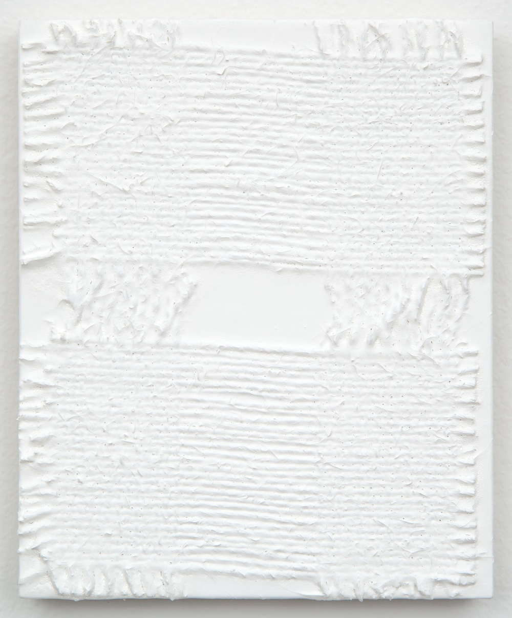 Michelle Grabner  Untitled  2013 Burlap and gesso on panel 6h x 5w in MGrab365