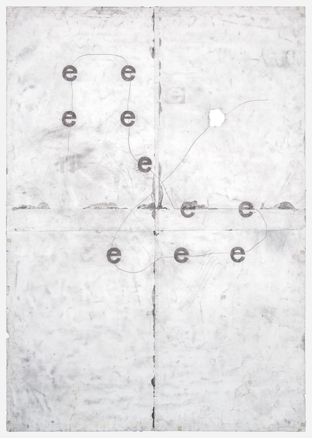 "Tony Lewis e e e e e e e e e e 2011 Pencil and powdered graphite on paper 84"" x 60"" TL030"
