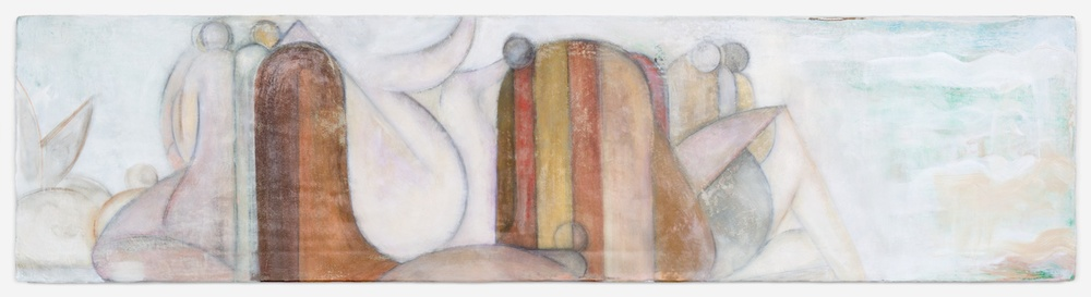 "Lily Ludlow Daughters 2012 Acrylic, graphite, and gesso on canvas 12"" x 48"" LL006"
