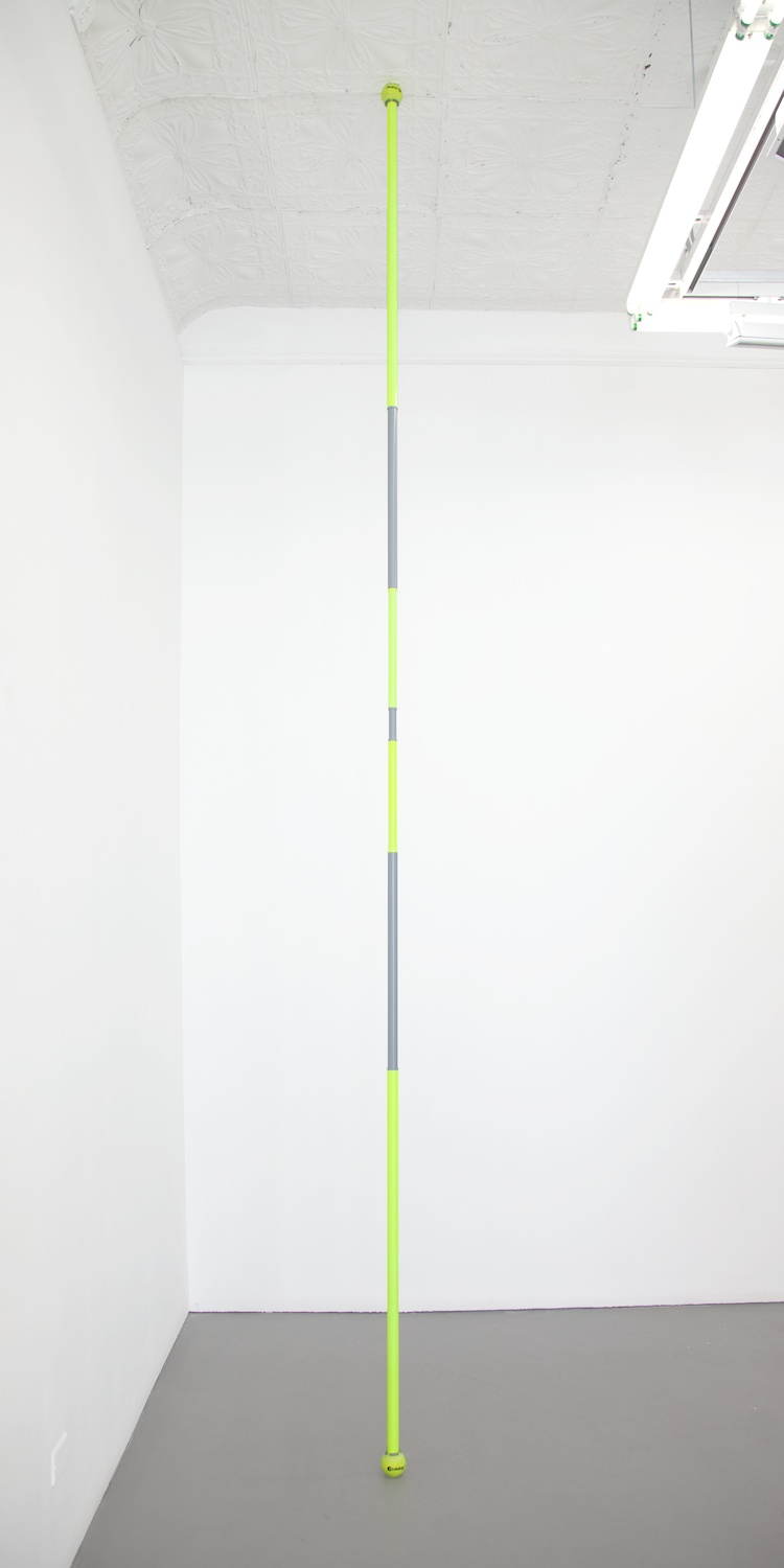 Chadwick Rantanen  Telescopic Pole (BallGlides / Fluorescent Yellow / Grey)  2012 Powdercoated aluminum, plastic, walkerballs 296h x 1 ½w in CR025