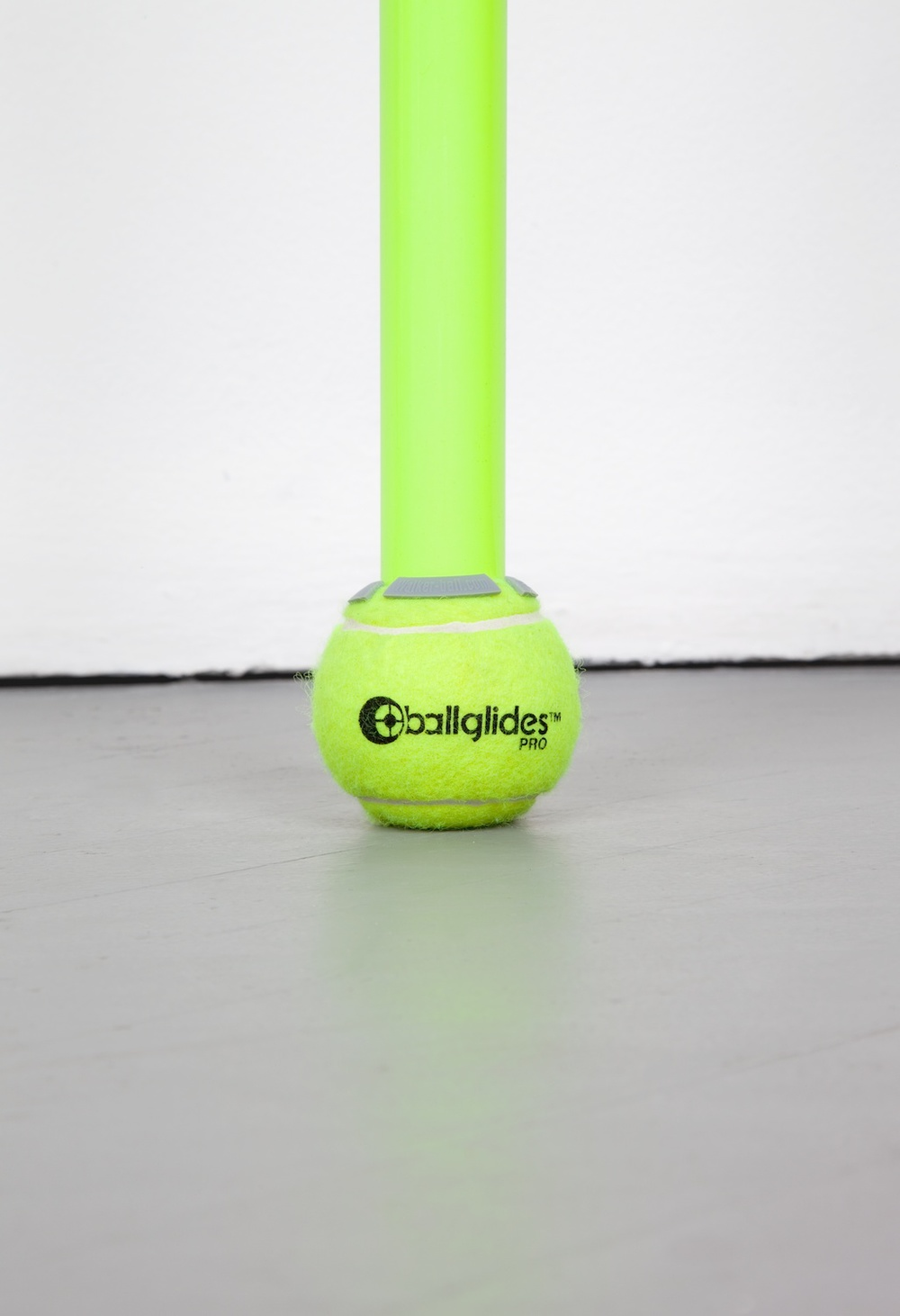 Chadwick Rantanen  Telescopic Pole (BallGlides / Fluorescent Yellow / Grey)  (Detail) 2012 Powdercoated aluminum, plastic, walkerballs 296h x 1 ½w in CR025