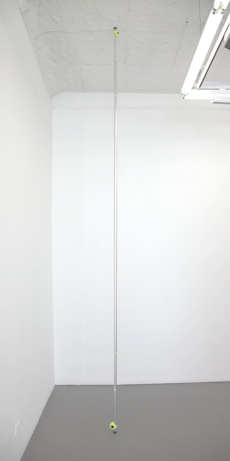 "Chadwick Rantanen Telescopic Pole (Three Hole EZ Glide / Never GIve Up / 03) 2012 Powdercoated aluminum, plastic, walkerballs 300"" x 1 1/2""  CR028"