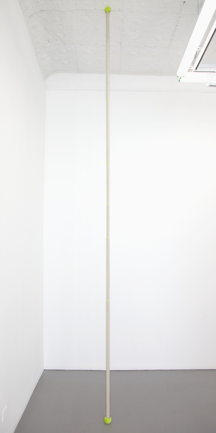 Chadwick Rantanen  Telescopic Pole (PC TB / Fluorescent Yellow / 02)  2012 Powdercoated aluminum, plastic, walker balls 296h x 1 ½w in CR029