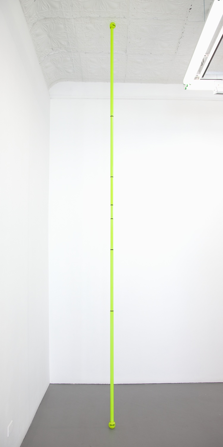 Chadwick Rantanen  Telescopic Pole (BallGlides / Fluorescent Yellow / 02)  2012 Powdercoated aluminum, plastic, walkerballs 282h x 1 ½w in CR030
