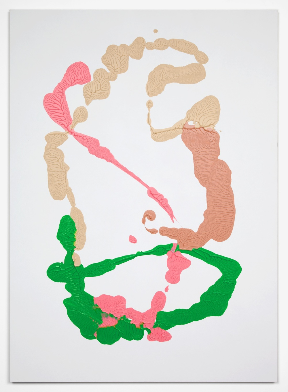 Dan Rees  Flesh Tint, Permanent Green, Off White, Naples Yellow Red  2012 Acrylic on canvas, imprint on wall 55 ½h x 39 ⅜w in DR001