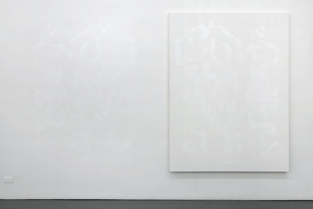 "Dan Rees Zinc White 2012 Acrylic paint on canvas, imprint on wall 78 3/4"" x 59 1/16"" DR002"