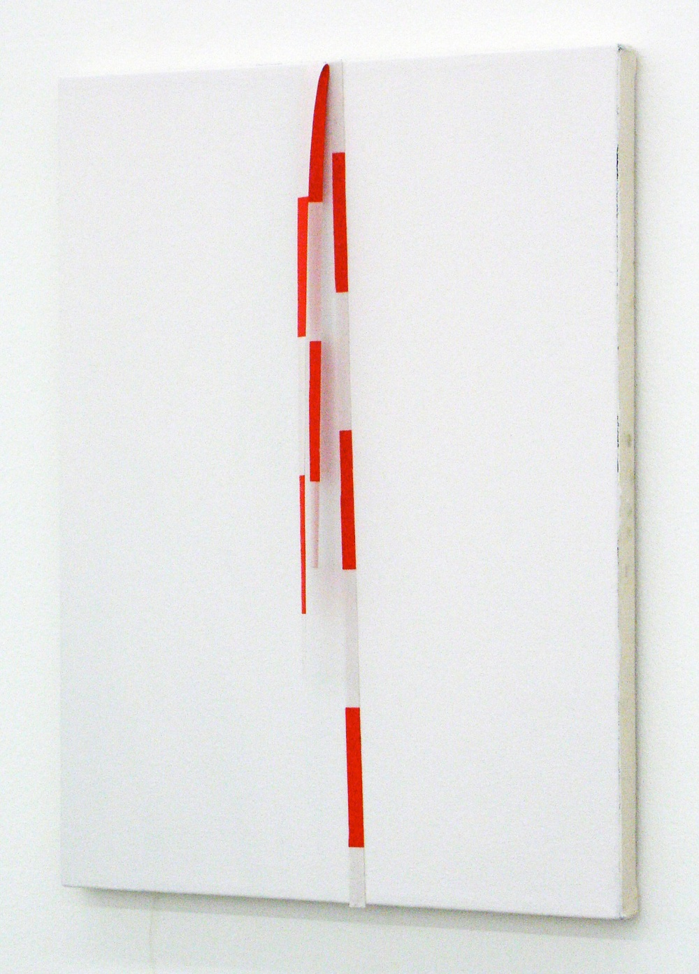 "Lisa Williamson Red and White Band 2009 Enamel and fabric on canvas 20"" x 16"" LW013"