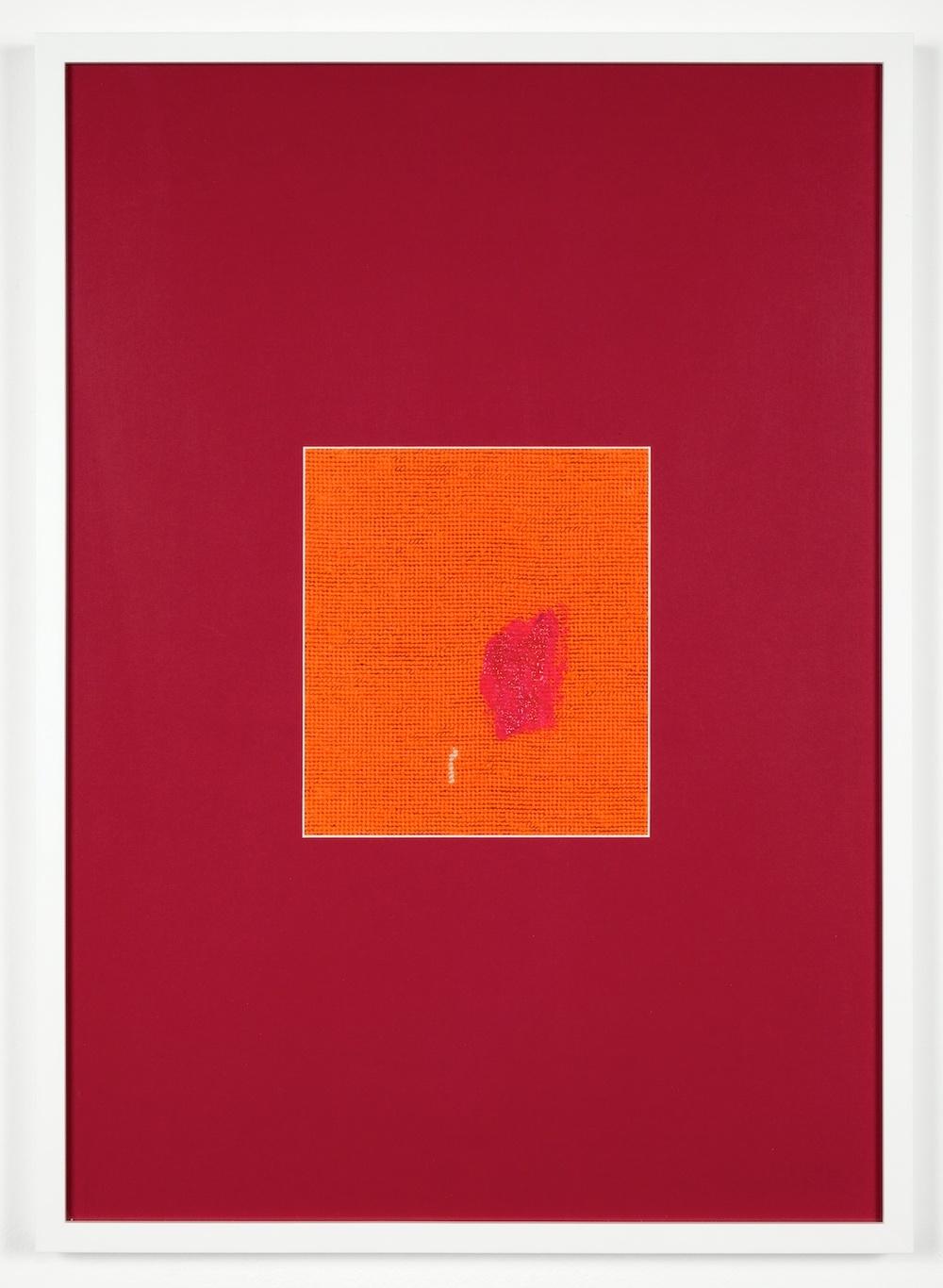 "Verena Dengler shmeer 2012 Embroidery, textile paint, passe-partout 28 3/8""x 20 1/2"" VD002"