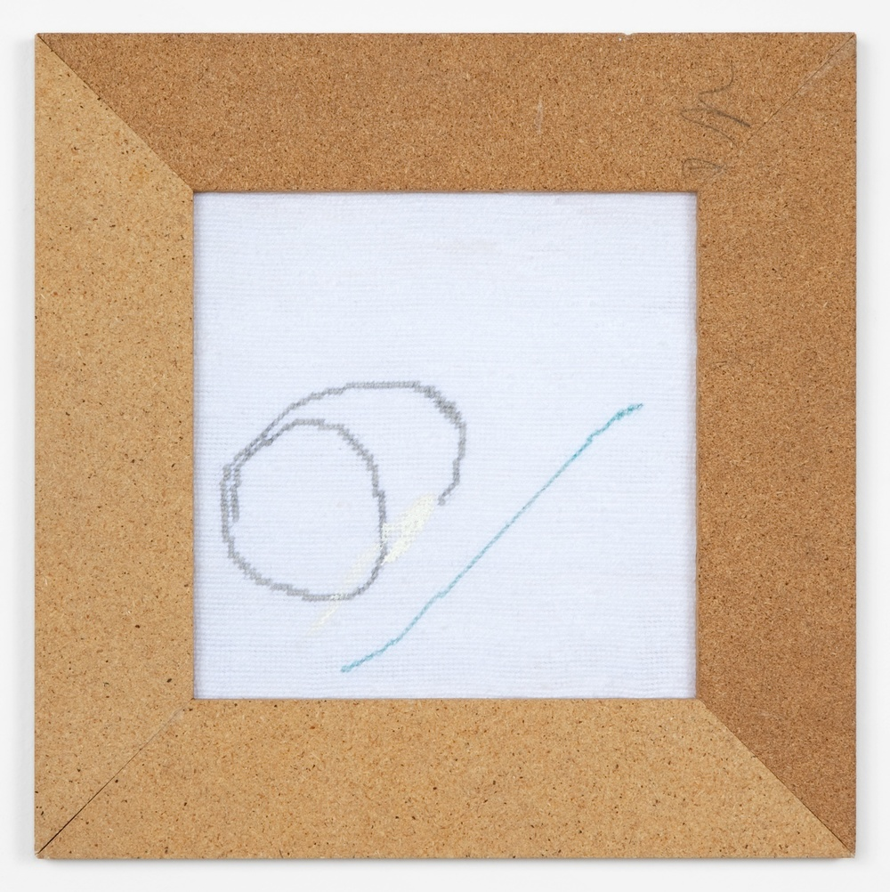 "Verena Dengler untitled (Six) 2011 Embroidery, artist's chipboard frame, textile color 13"" x 13"" VD004"