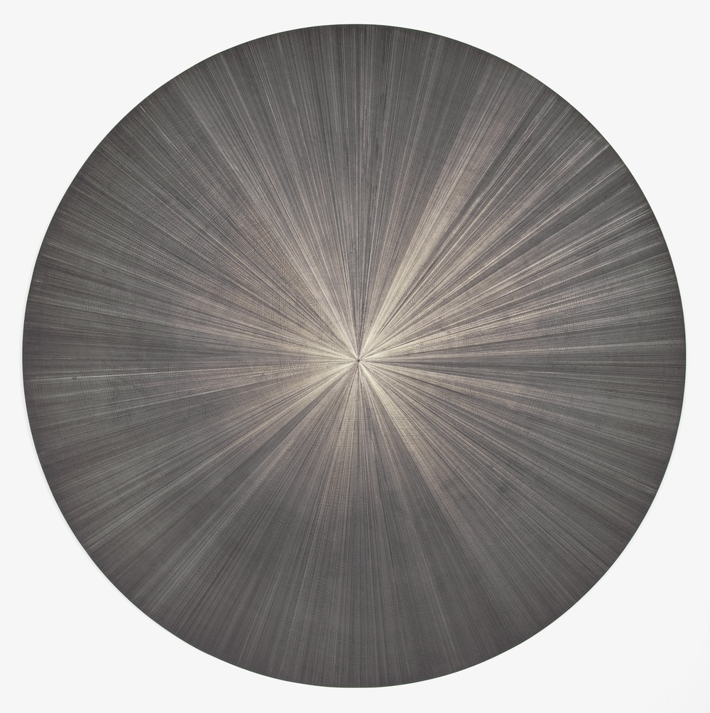 "Michelle Grabner Untitled 2012 Silverpoint and black gesso on canvas 36"" x 36"" MGrab261"