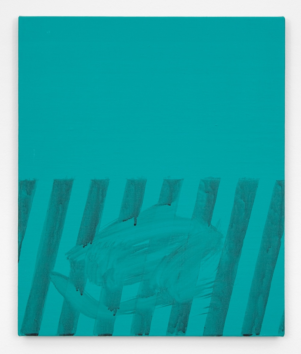 "Shimon Minamikawa Green Stripe 2011 Acrylic on canvas 17 43/48"" x 15"" SMin003"