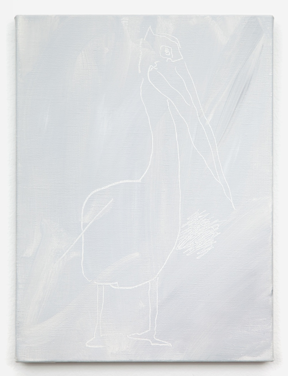 "Shimon Minamikawa Gray Gray, Pelican 2011 Acrylic on canvas 13"" x 9 19/48"" SMin001"