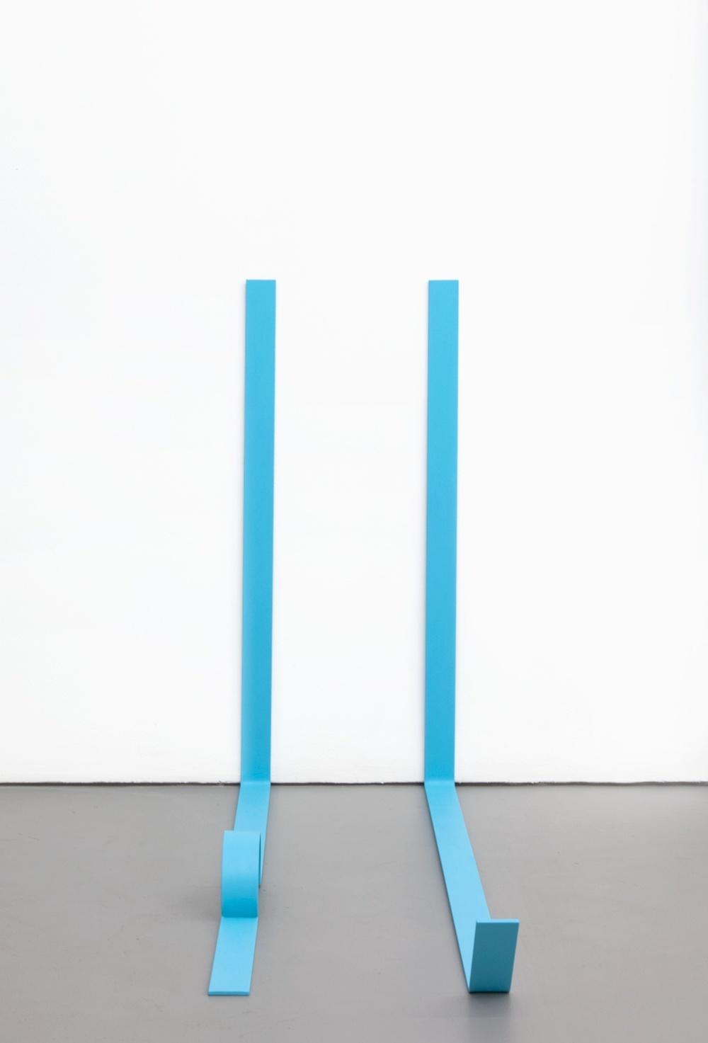 Lisa Williamson  Teal Legs  2011 Acrylic on steel 34h x 14w x 48d in LW076