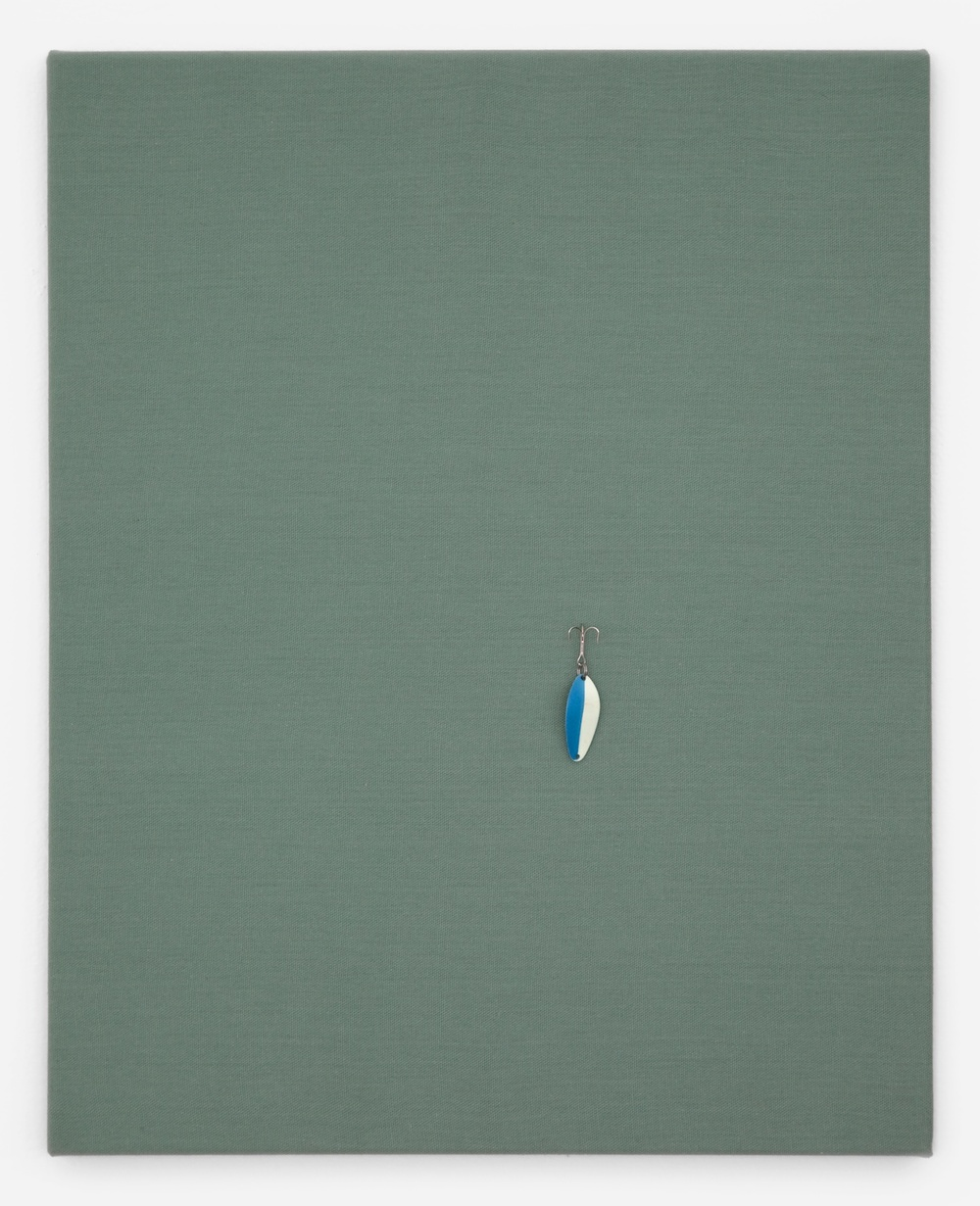 "Paul Cowan Untitled 2011 Fishing lure on canvas 20"" x 16"" PC003"