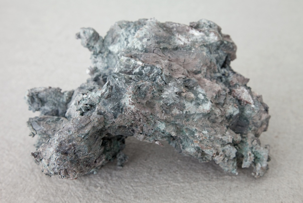 Jay Heikes  Methcathinone Blues  (Detail) 2011 Linen and copper ore 6 ½h x 59w x 73d in JH037