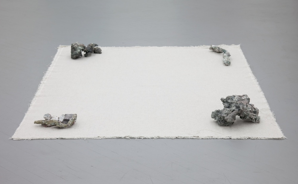 Jay Heikes  Methcathinone Blues  2011 Linen and copper ore 6 ½h x 59w x 73d in JH037