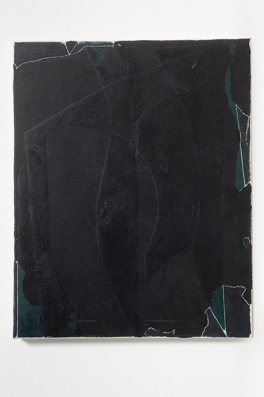 "Zak Prekop Black Relief 2011 Oil and paper on canvas 25"" x 20"" ZP154"