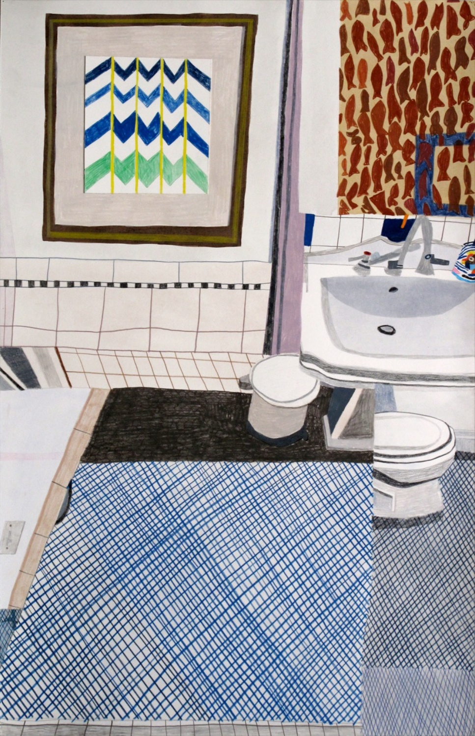 "Jonas Wood Downstairs Bathroom 2009 Gouache, colored pencil, and collage on paper 34"" x 22"" JW115"