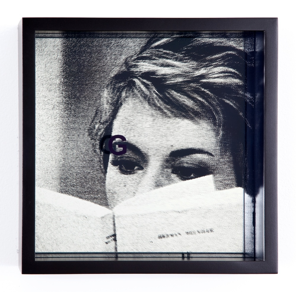 "Adam Pendleton System of Display, G (AGAINST/Jean-Luc Godard, Le Grand Escroc, episode from Les Plus Belles Escroqueries du Monde, 1964) 2011 Silkscreen on glass and mirror 9 7/8"" x 9 7/8"" x 3"" AdamP010"