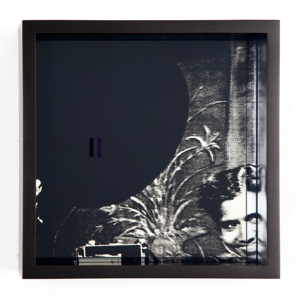 "Adam Pendleton System of Display, I (INFINITY/G.R. Naidoo, photographer Priscilla Moodley, 1960) 2011 Silkscreen on glass and mirror 9 7/8"" x 9 7/8"" x 3"" AdamP009"
