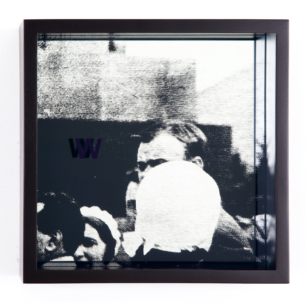 "Adam Pendleton System of Display, W (SWALLOWING/Andre Malraux and Sergei Eisenstein in Moscow circa 1935) 2011 Silkscreen on glass and mirror 9 7/8"" x 9 7/8"" x 3"" AdamP008"