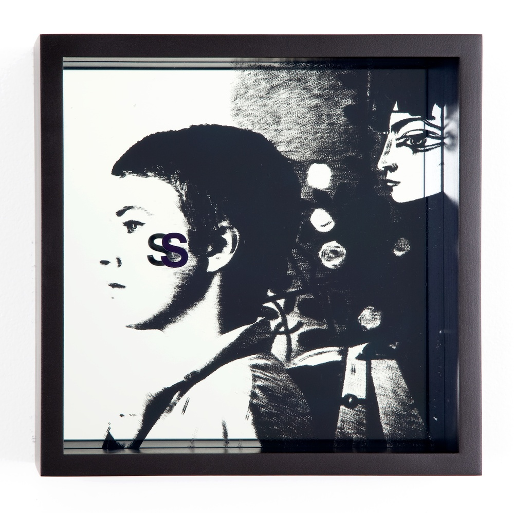 "Adam Pendleton System of Display, S (Sullied/Jean-Luc Godard, Breathless, 1960) 2011 Silkscreen on glass and mirror 9 7/8"" x 9 7/8"" x 3"" AdamP014"