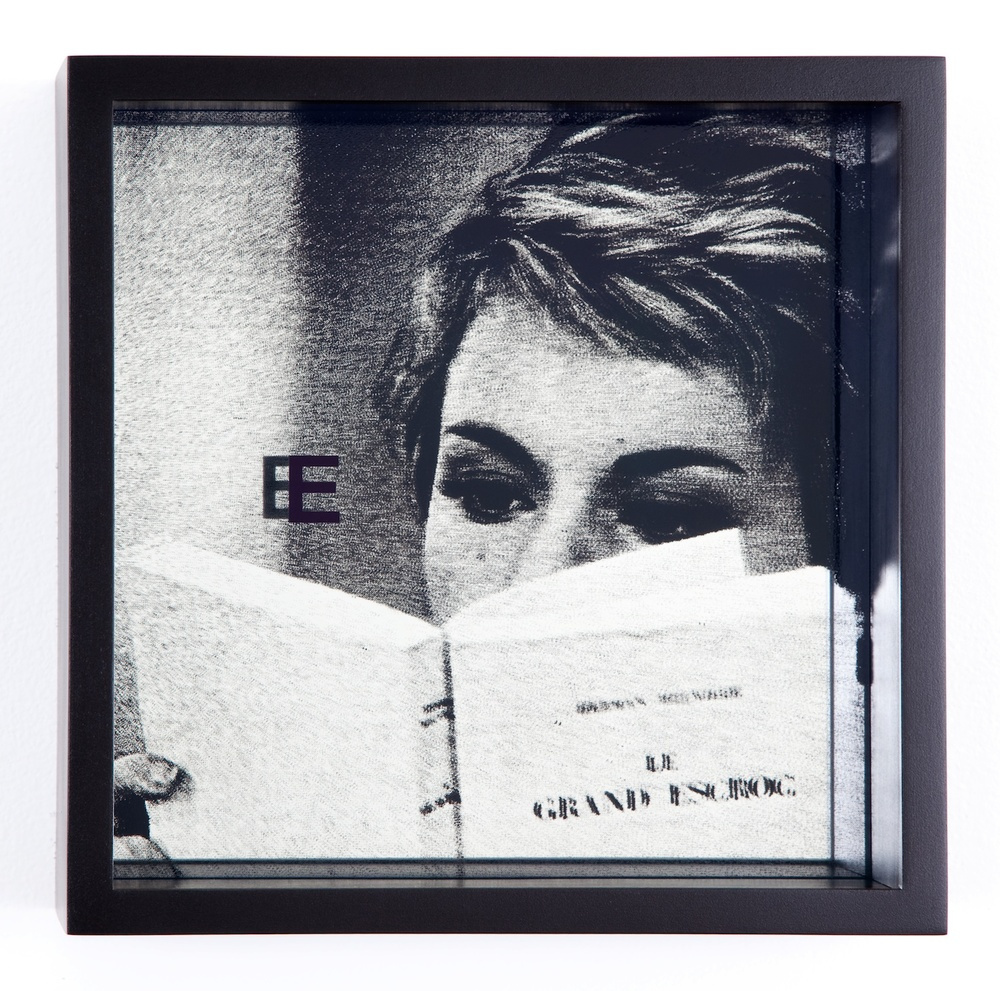 "Adam Pendleton System of Display, E (ETERNAL/Against/Jean-Luc Godard, Le Grand Escroc, episode from Les Plus Belles Escroqeries du Monde, 1964) 2011 Silkscreen on glass and mirror 9 7/8"" x 9 7/8"" x 3"" AdamP012"
