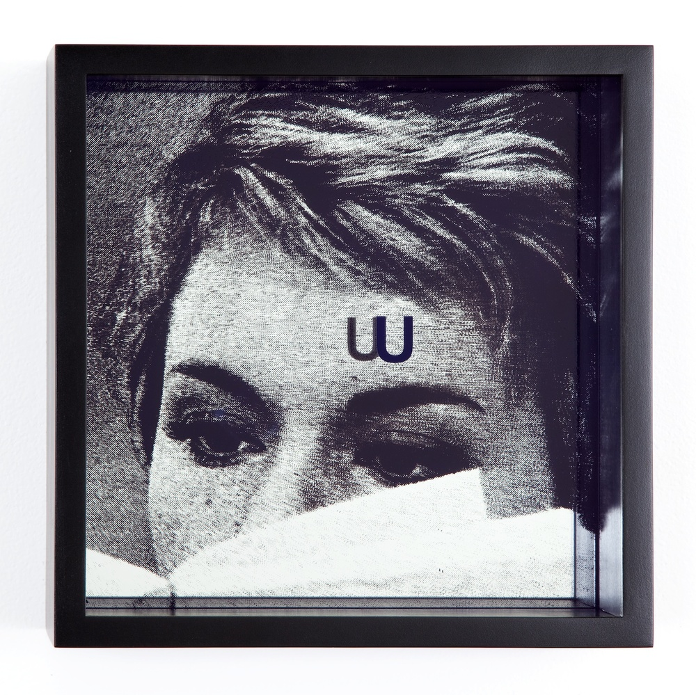 Adam Pendleton  System of Display, U (PERSECUTORS/Jean-Luc Godarad, Le Grand Escroc, episode from Les Plus Belles Escroqueries du Monde, 1964)  2011 Silkscreen on glass and mirror 9 ⅞h x 9 ⅞w x 3d in AdamP015