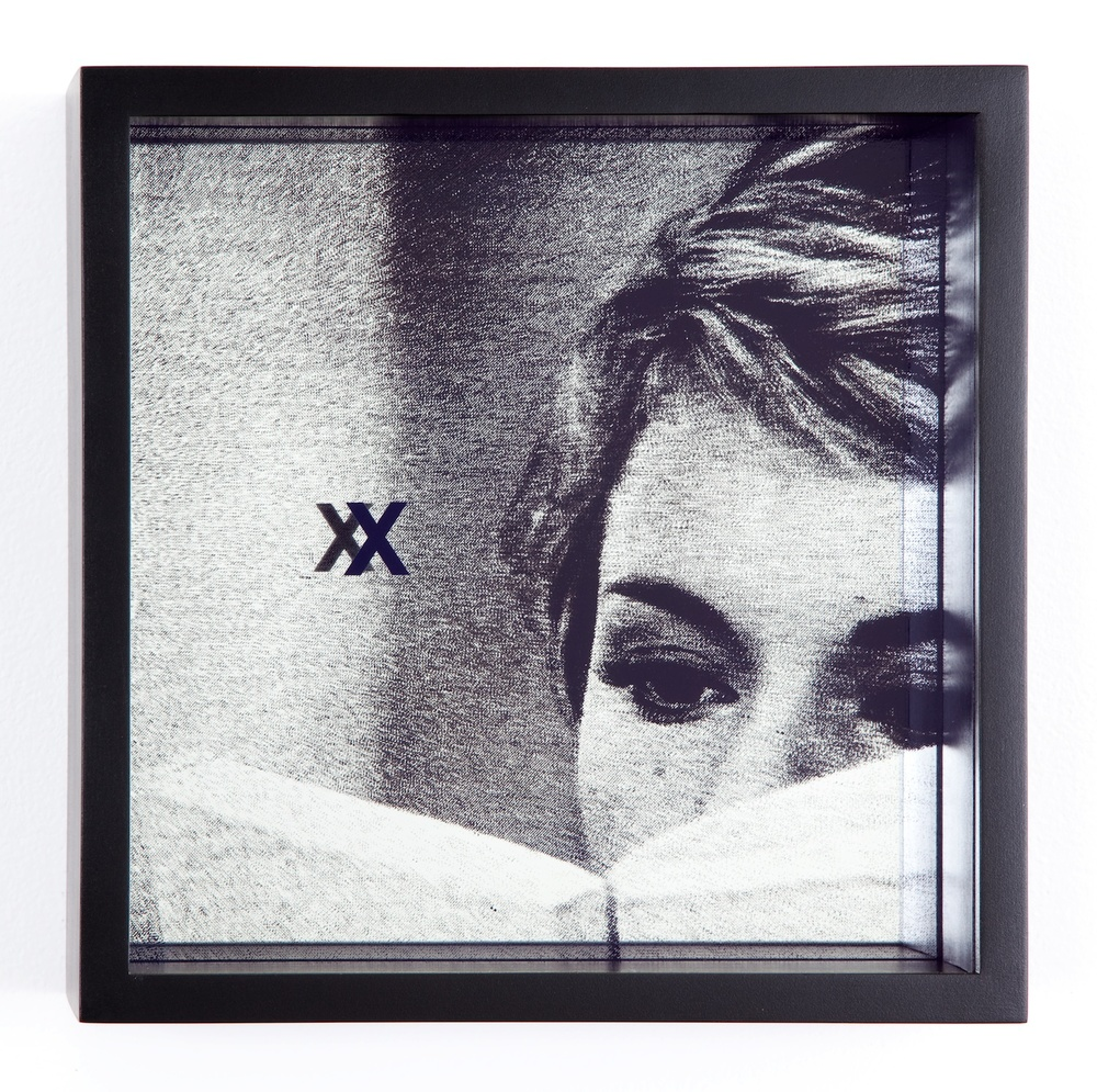 "Adam Pendleton System of Display, X (EXTENDED/Jean-Luc Godard, Le Grand Escroc, episode from Les Plus Belles Escroqueries du Monde, 1964) 2011 Silkscreen on glass and mirror 9 7/8"" x 9 7/8"" x 3"" AdamP017"