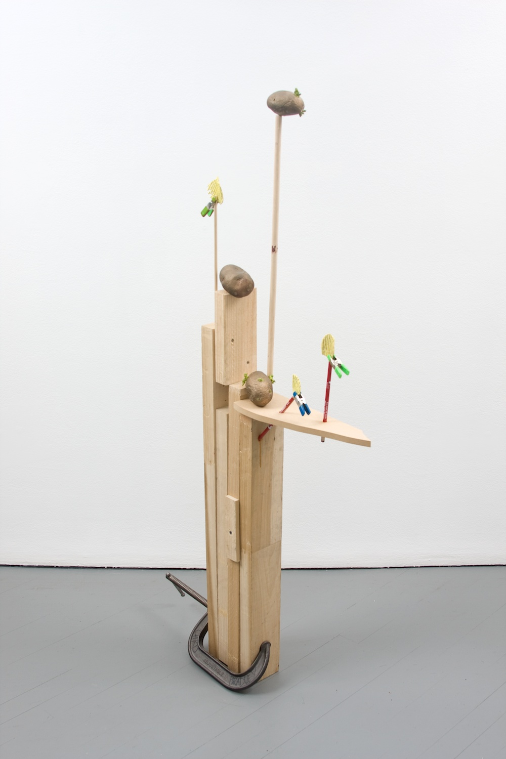 "Chris Bradley Target #2 2011 Cast bronze, paint, wood, clamps, and pencils 50 1/2"" x 21"" x 4"" CB007"