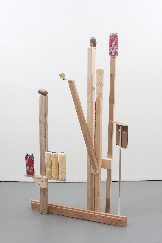 Chris Bradley  Target #1  2011 Aluminum, cast aluminum, cast bronze, paint, wood, beer cans, clamp 62 ½h x 35w x 13d in CB001