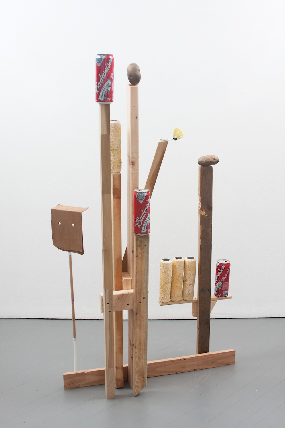 "Chris Bradley Target #1 2011 Aluminum, cast aluminum, cast bronze, paint, wood, beer cans, clamp 62 1/2"" x 35"" x 13"" CB001"