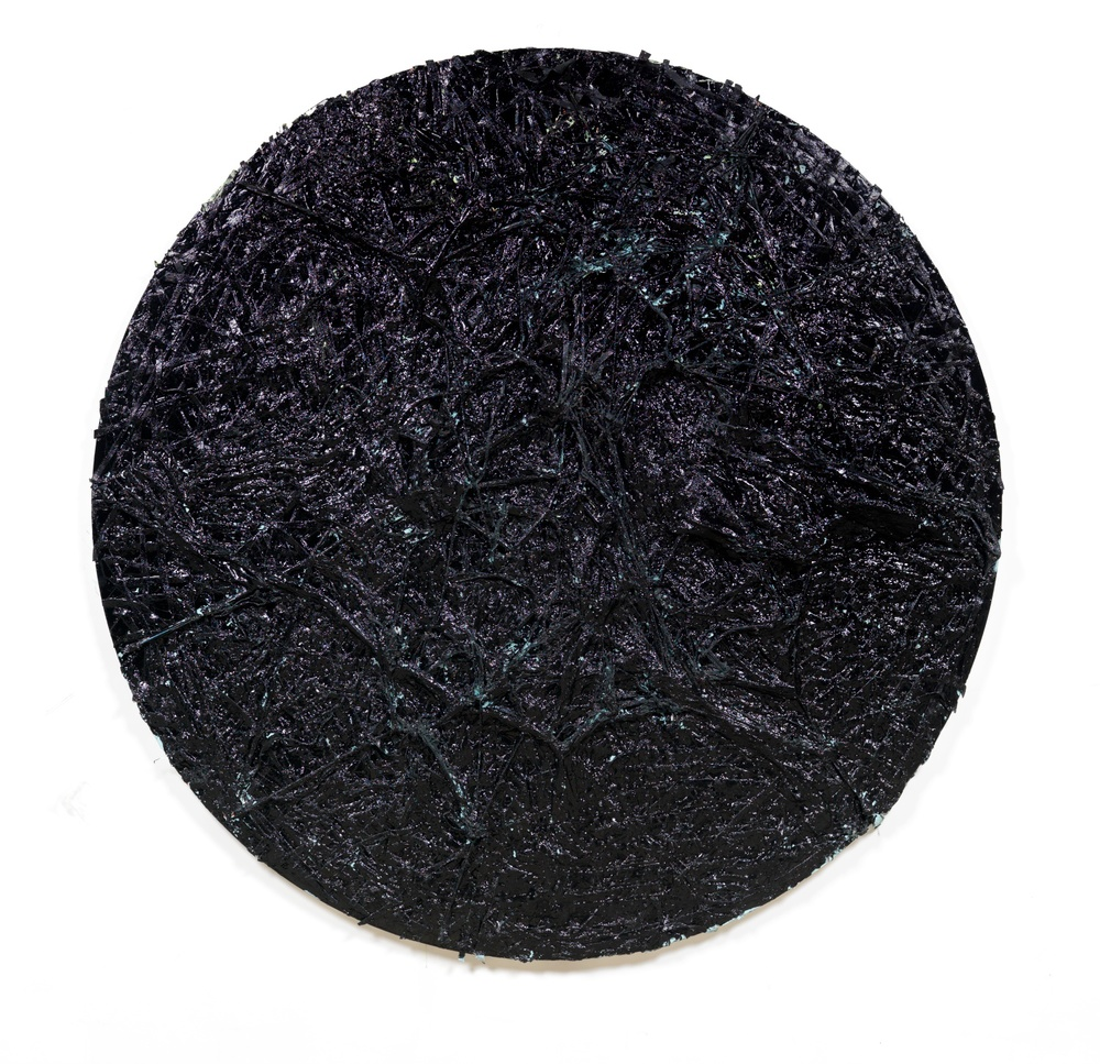 "William J. O'Brien Untitled 2008 Enamel, fabric, cardboard, and plaster on canvas 72"" diameter WOB292"