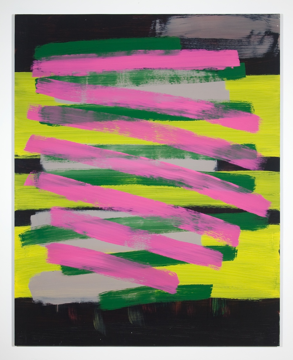 "Jon Pestoni Pink and Green Crossing 2010 Oil on canvas on panel 60 1/4"" x 48"" P038"