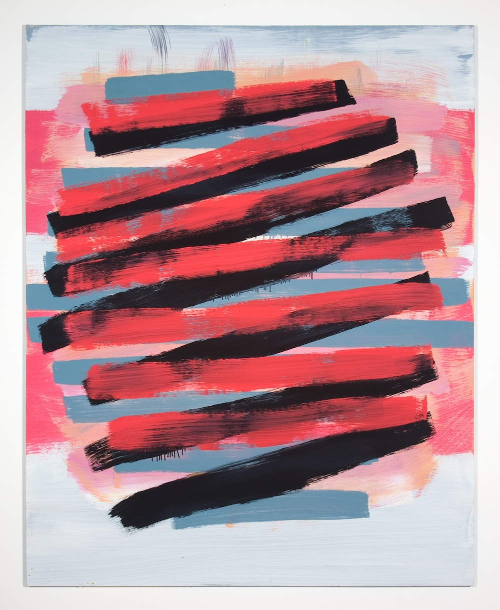 Jon Pestoni  Red and Black Crossing  2010 Oil on canvas on panel 59 ¾h x 47 ½w in JP037