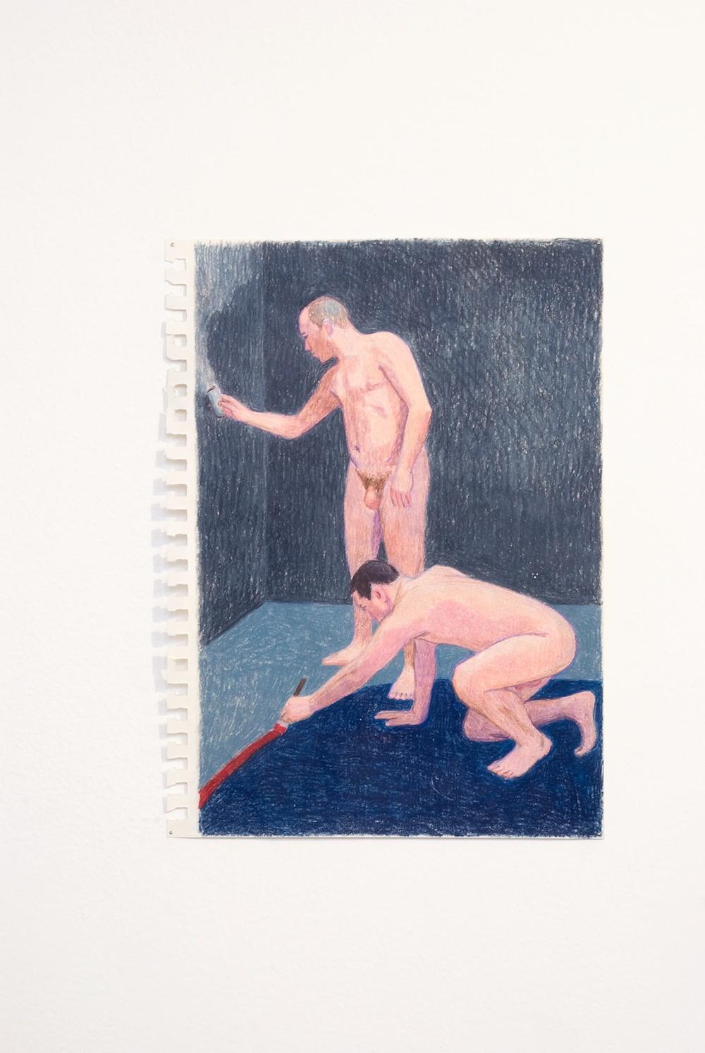Elijah Burgher  Preparing a ritual space 1  2009 Colored pencil on paper 12h x 8w in EB010