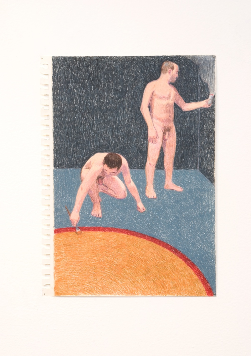 "Elijah Burgher Preparing a ritual space 2 2009 Colored pencil on paper 12"" x 8"" EB007"