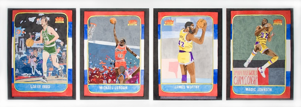 Jonas Wood  4, 1986-87 Basketball Cards  2009 Gouache and colored pencil on paper 28 ½h x 88w in JW056