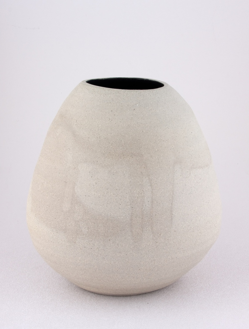 "Shio Kusaka Untitled (grey and black) 2009 Stoneware 8"" x 8"" K062"